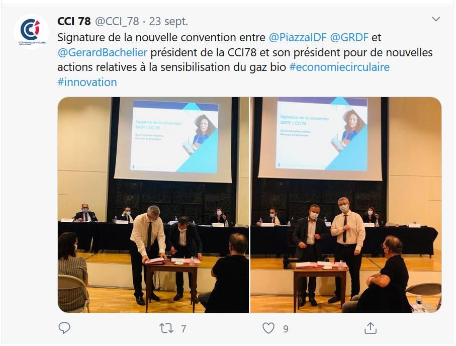 CCI 78 - Signature de la nouvelle convention entre GRDF et la CCI Versailles-Yvelines pour le développement du gaz vert et BioGNV