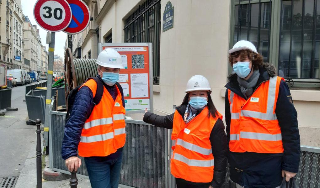Visite de chantier des travaux de mordernisation de gaz avec Jeanne d'Hauteserre, maire du 8e arrondissement