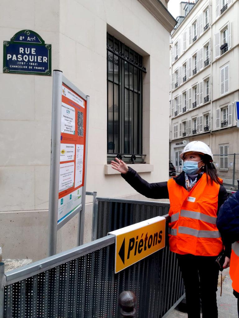 Rue Pasquier, visite de chantier des trvaaux de modernisation de réseau de gaz