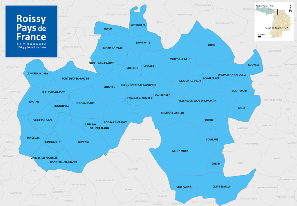Les 42 communes de la communauté d'agglomération de Roissy Pays de France