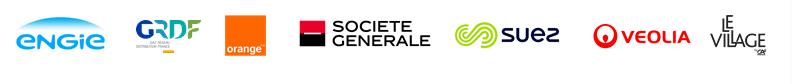 Les partenaires, sponsors de CLP21 : ENGIE, GRDF, Orange, Société Générale, Suez, Le Village by CA & Veolia.